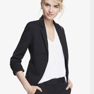 Express Fitted Ruched Sleeve Classic Black Blazer